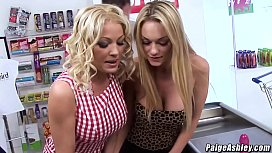 Paige Ashley threesome fucking with Cindy Behr at work