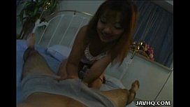 Caring Asian girlfriend pleasing her mans penis