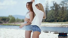 Skinny teens are lesbian girlfriends who get naked outdoor