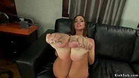 Sexy feet brunette is machine fucked
