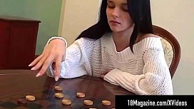 Big Boobed Brunette Katie Fey Teases On Game Table!