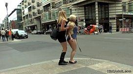 Busty petite blonde gangbang in public