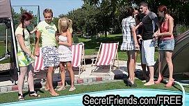 Pool Party Orgy 2 guys 5 chicks Secret Friends