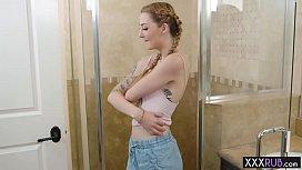 Wet tattooed redhead teen hot massage by a professional