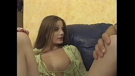 Hot raunchy girl Kyra plays with creamed dick then fucks wildly