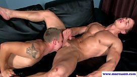 Muscular straight hunk lets guy lick cum