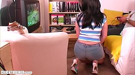Remember this Console Game on the GC? Vintage Gamer Porn! Busty Britney Swallows Cum in sexy Jeans Hotpants. Big-breasted submissive Teen sucks cock and gets a Cum Facial.
