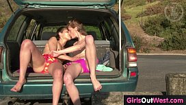 Slender Aussie lesbian teenies lick assholes outdoors