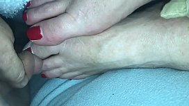 Cumshot #2 on sleeping wife&rsquo_s feet