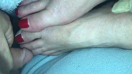 Cumshot #2 on sleeping wife&rsquo_s feet