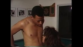 Retro ebony slut gets her cunt slammed on pool table