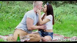 Hotty is stroking dudes aroused willy with her throat