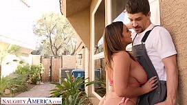 Naughty America Natasha Nice fucks lawn guy while hubby's at work