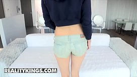 Reality Kings - Skinny lil teen, Aspen Ora, takes a finger in her ass and a huge cock in her pussy
