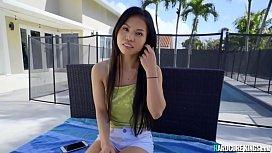 Asian teen is fucked beside pool