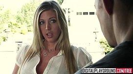 Slutty blonde (Samantha Saint) shows off her pierced nips and clit - Digital Playground