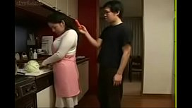 Japanese Stepmom and Son in Kitchen Fun