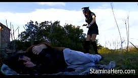 Police woman brutal fucked for two boys