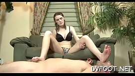 Sexy honey gets her foot sucked by a dude with a foot fetisj