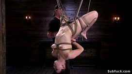 Hairy babe in upside down suspension