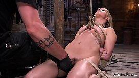 Pierced nipples hottie tormented in hogtie
