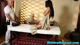 Busty massage babe pounded doggystyle