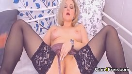 Hot Blonde Babe Plays With Her Toy And Moans Loud on Vpornlive.com