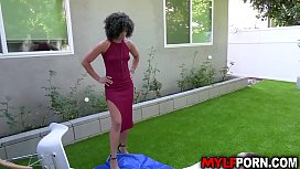 Beautiful black MILF Misty Stone and her horny white neighbor Brad Hart enjoyed in an afternoon intense hardcore sex.