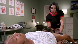 Asian doctor wanking big black cock