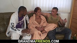Interracial double penetration for granny