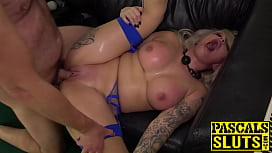 Fingered busty Louise Lee hard pounded after blowjob