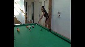hot ebony slut sucks big dick on billiard table