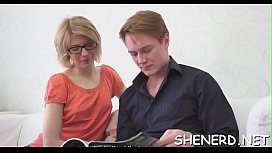 Nerdy teen behaves like a wench