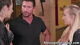 Two hot babes pleasuring a huge cock during Nuru massage