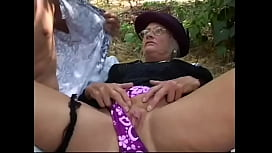 Sex crazed mature gets slammed from behind outdoors