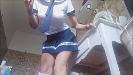 Dad, you must punish your daughter. she is a really rude schoolgirl! pee on the floor!