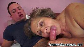 Jizzy mouthed grandma