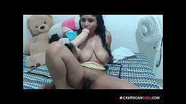 Great boobs Latin toys hairy pussy