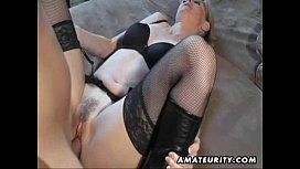 Hot amateur Milf sucks and fucks with cumshot on pussy