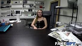 Bigass blonde banged and sucking future employers dick