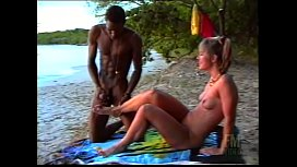 Black african boy cums on the feet of a slutty french tourist