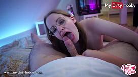 MyDirtyHobby - Nerdy college babe swallows cum at her dorm