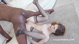 Sexy slut Ginger Fox gets non stop gapes and 100% Balls Deep Interracial Anal