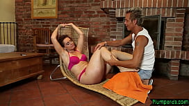 Massaged chubby milf cockriding her masseur