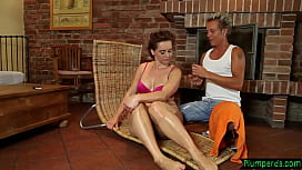 Massaged chubby milf cockriding her masseur