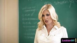 Sapphic teacher tribbing busty MILF