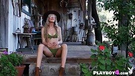 Petite Euoropean blonde MILF hot striptease outside