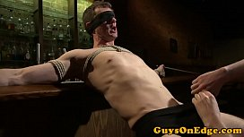 Muscled bdsm sub cocksucked and jerked