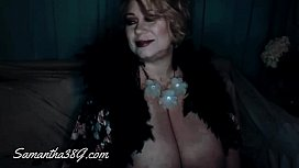 Sexy lingerie, robe &amp_ cute nightie on curvy Samantha38g live cam show archive part 1