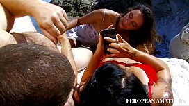 With my wife and her friend on the beach we use the strapon